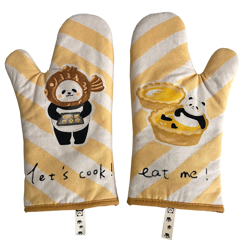 GREVY Oven Mitts Anti-Heat Kitchen Gloves 12 Panda Bear Design Set of 2 GREVY LTD 215 Pure Cotton Twill