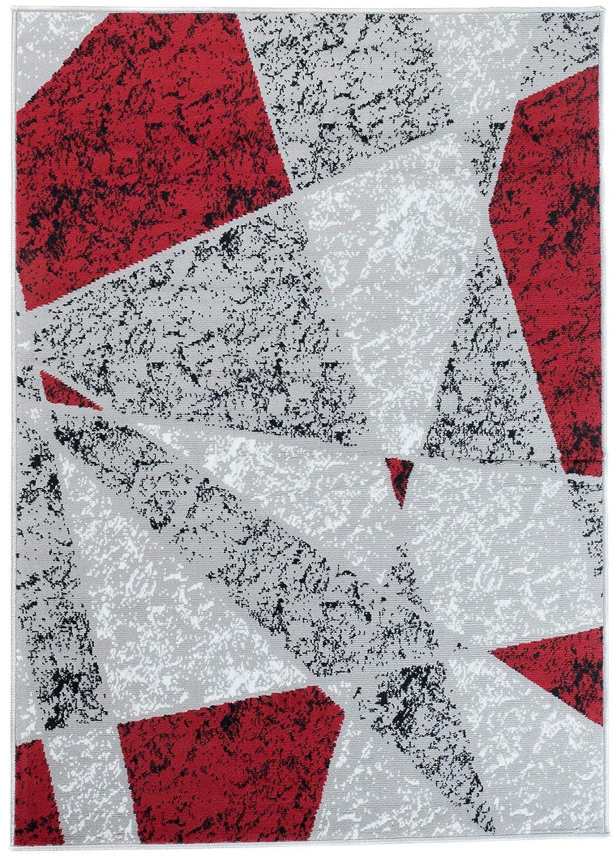Tapiso Fire Teppich Modern Kurzflor Meliert Figuren Streifen Abstrakt Muster Grau Schwarz Rot Designer Wohnzimmer 180 x 250 cm