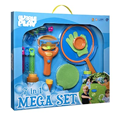Bubble Play 7-in-1 Magic Bouncing Bubble Mega Set Includes [3] Mini Blowers, [2] 8oz Solution Refills, Blaster Gun, Handheld Fan, Jumbo Wand, Bouncy Game Paddle, Glove, Blower Tool, Trays & More: Toys & Games [5Bkhe1106540]