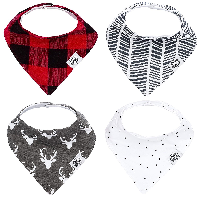 "Parker Baby Bandana Drool Bibs – 4 Pack Baby Bibs for Boys, Girls, Unisex -""Lumberjack Set"""