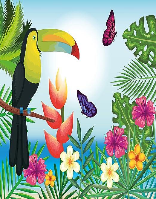ALAZA Bandera decoración de jardín, diseño de pájaros y mariposas, flores tropicales con toucán, doble cara, poliéster, bandera de bienvenida para casa, cartel de 30 x 45 cm: Amazon.es: Jardín