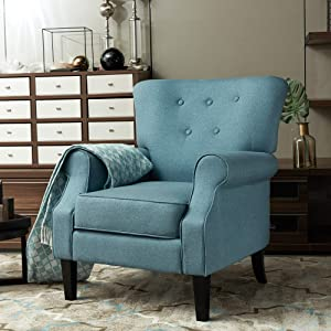 LOKATSE HOME Accent Arm Chair Mid Century Upholstered Single Sofa Modern Comfortable Furniture Pine Wood Legs for Living Room, Club, Bedroom, Blue