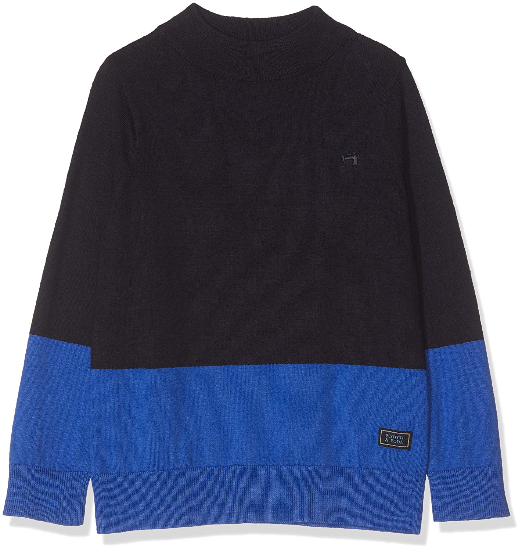 Scotch /& Soda Mock Neck Pull in Cotton-Cashmere Quality T-Shirt Bambino