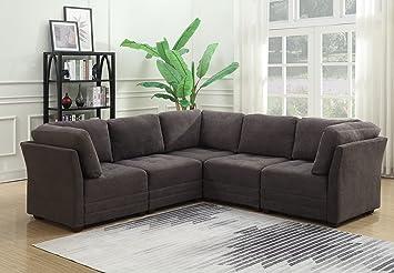 Amazon.com: MorriSofa Murray Sectional Sofa, CHARCOAL Grey ...