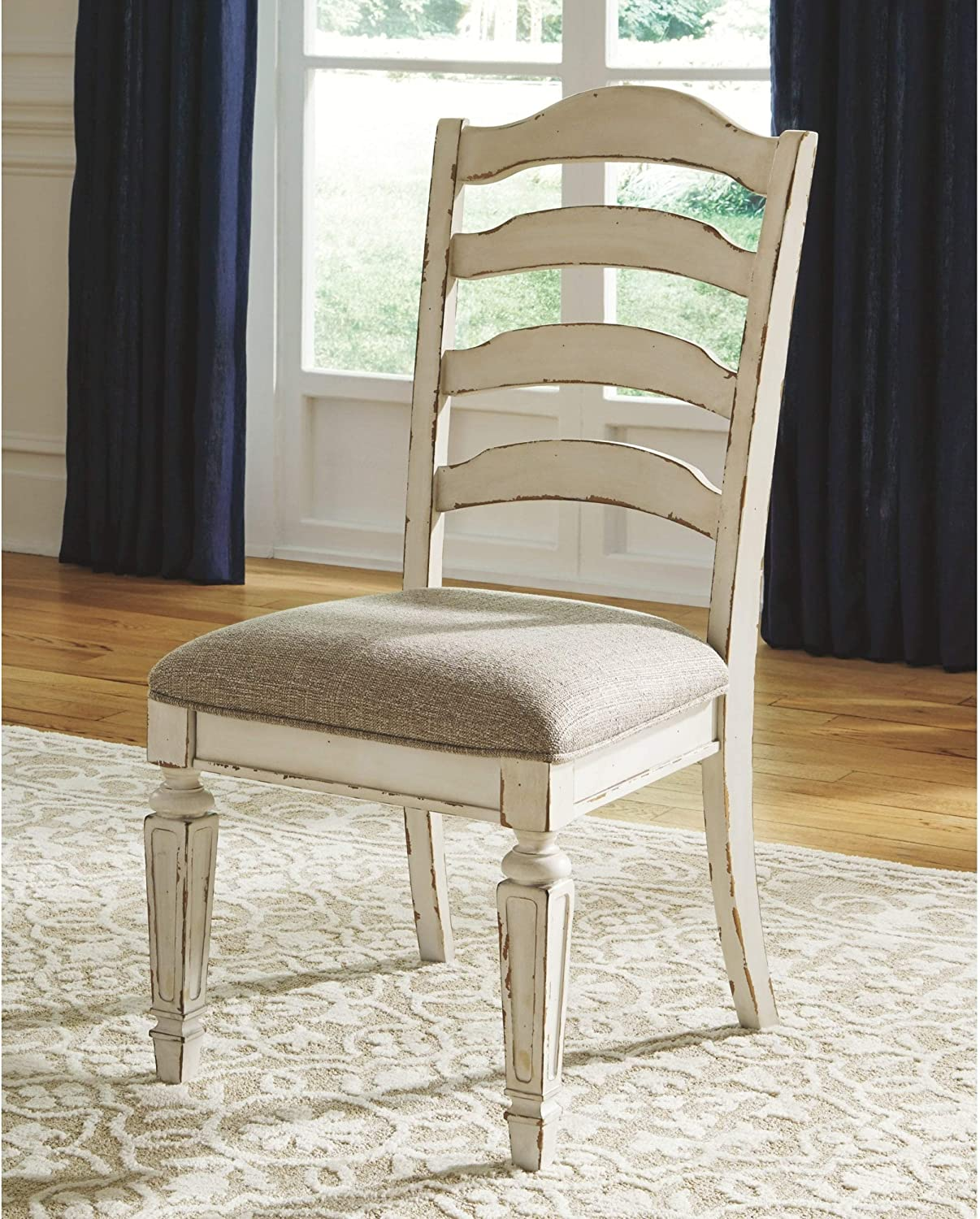 Amazon Com Nettle Bank Chipped White Dining Room Chair Set Of 2 Brown Ivory Farmhouse Upholstered Wood Antique Chairs