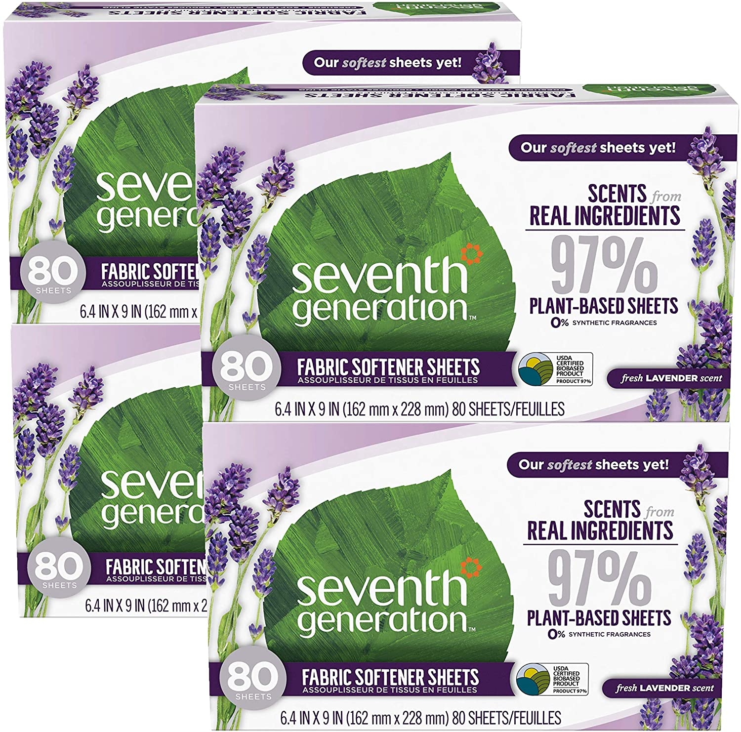 Seventh Generation Dryer Sheets, Fabric Softener, Fresh Lavender Scent, 80 Count, 4 Pack