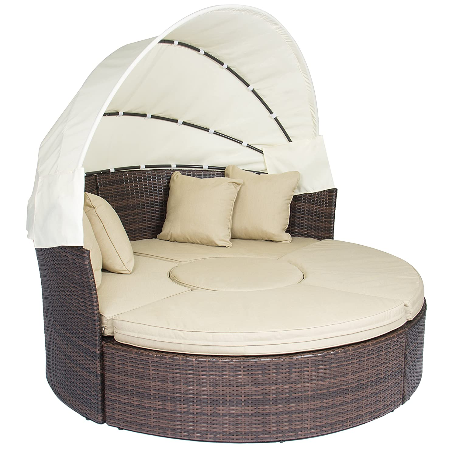 Amazon Outdoor Patio Sofa Furniture Round Retractable Canopy Daybed Brown Wicker Rattan Garden