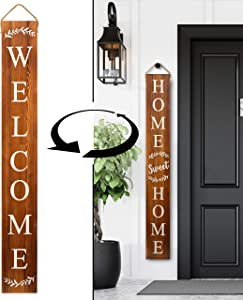 Tall Outdoor Welcome Sign for Porch - Vertical Welcome Sign for Front Porch (~5 Ft), Modern Farmhouse Decor for The Home, Front Porch Decor Farmhouse, Wooden Welcome Sign for Front Porch Decor (Brown)
