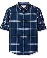 Original Penguin Men's Roll Sleeve Linen Blend Window Pane Shirt with Pocket