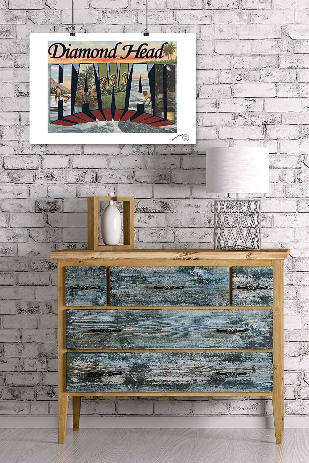 Diamond Head Hawaii 36x54 Giclee Gallery Print, Wall Decor Travel Poster Large Letter Scenes