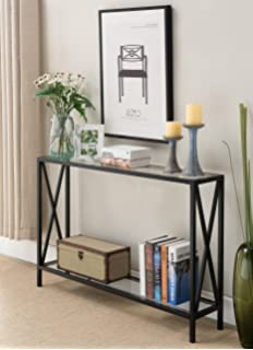 Clear Glass / Black Metal Frame 2 Tier Entryway Console Sofa Table With X