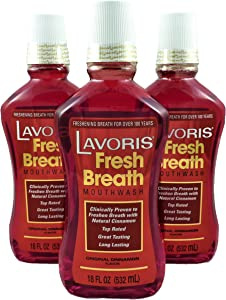 Cinnamon Original Lavoris Mouthwash LARGER SIZE - 3 Pack of 18 oz Bottles (54 oz. total)