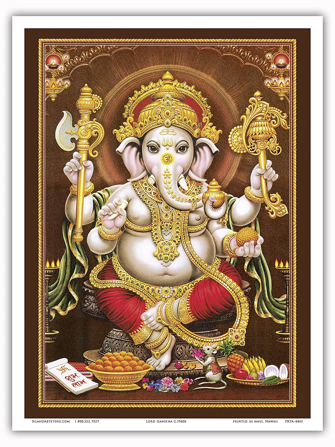 Original Religious Images c.1960s Knowledge and New Beginnings Lord Ganesha God of Wisdom Hindu Elephant Headed Deity Master Art Print 9in x 12in
