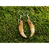 Deer Antler Tip Beaded Stone Necklace Leather Stag Horn Outdoors Rustic Jewelry AG3