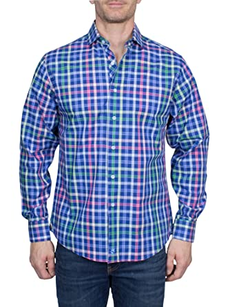 667ed9a7 Thaddeus Frank Men's Plaid Long Sleeve French Button Down Cotton Shirt with  Cutaway Collar