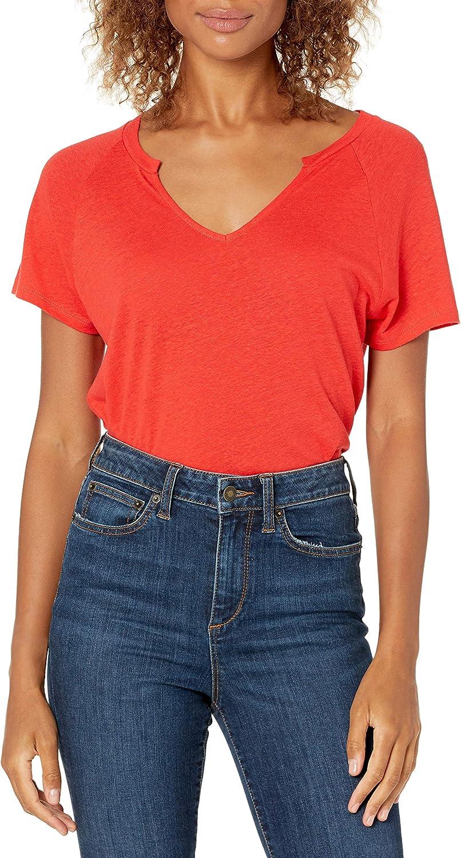 Amazon Brand - Goodthreads Women's Linen Modal Jersey Short-Sleeve Slit-Neck T-Shirt