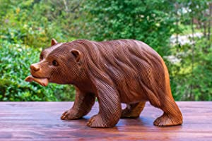 G6 Collection Wooden Hand Carved Bear Catching Fish Statue Handcrafted Handmade Figurine Sculpture Art Rustic Lodge Cabin Outdoor Indoor Decorative Home Decor Accent Decoration