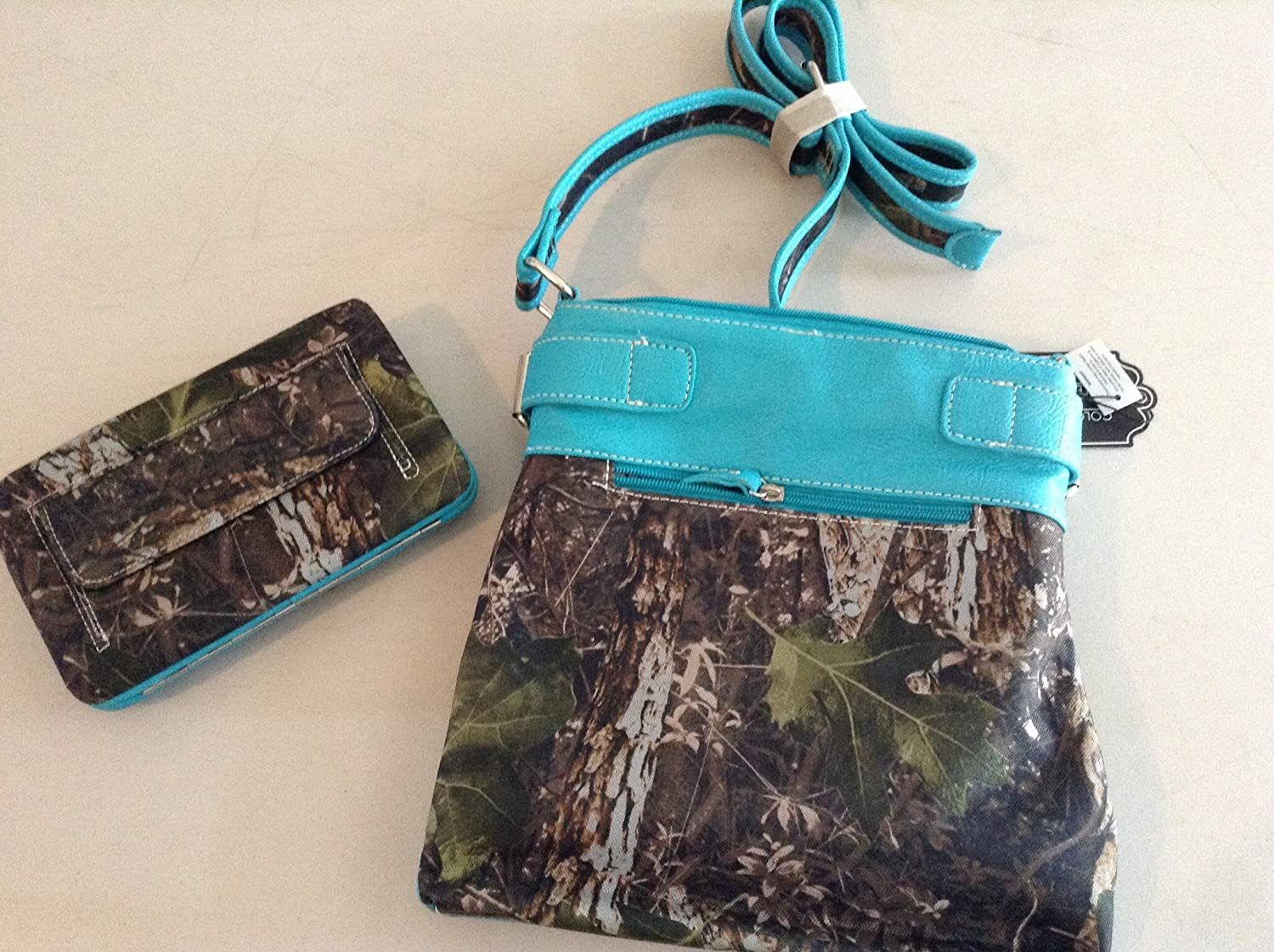 Bling Camo Messenger Crossbody Bag w// Guns INCLUDES Matching Wallet Turquoise