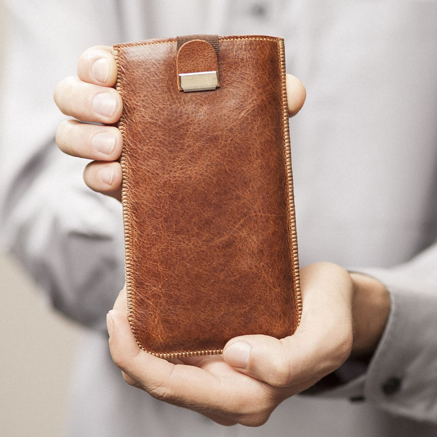 iPhone XS MAX Leather Cover with pull Band Case, Sleeve Pouch Shell also fits 8+, 7+, 6+, 6s+ models