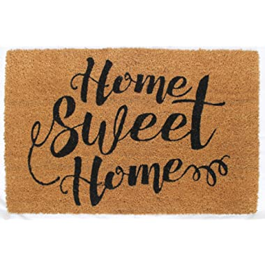Avera Products Home Sweet Home Welcome Mat, All Natural Coir Fiber with Anti-Slip PVC Backing, 17x29 ADW012