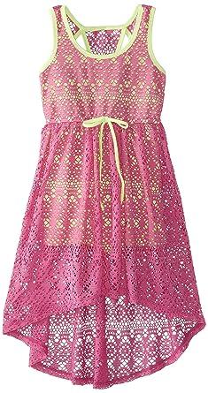 c1eb74d7dd0 Amazon.com  Bonnie Jean Tween Big Girls Romper Hi-Lo Crochet Overlay ...