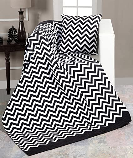 Magnificent Ehc Luxury Chenille Chevron Sofa Throws Arm Chair Covers Single Blanket 130X 170Cms Black White Polyester Cotton Black Small Double Download Free Architecture Designs Scobabritishbridgeorg