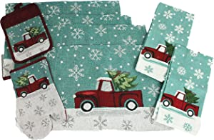 8 pc Vintage Truck Merry Christmas Place Mat Kitchen Decor Set - Matching Placemats, Kitchen Towels, Pot Holder, and Oven Mitt - Comes in an organza bag so it's ready for giving!