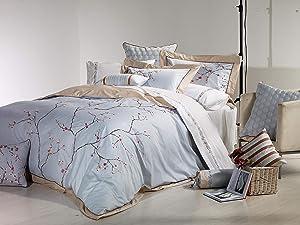 Melange Home Sakura Embroidery Duvet Set, Full/Queen, Blue