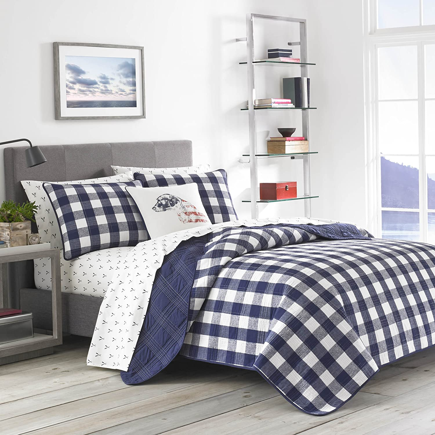 Eddie Bauer Lake House Plaid Quilt Set, Full/Queen, Blue