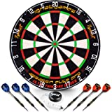 Professional Dart Board Set - Bristle/Sisal Tournament Dartboard with Complete Staple-Free Ultra Thin Wire Spider + 6…