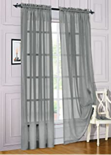 Gorgeous Home 1PC SILVER GRAY SOLID SOFT VOILE SHEER WINDOW CURTAIN PANELS ROD POCKETS DRAPES 54