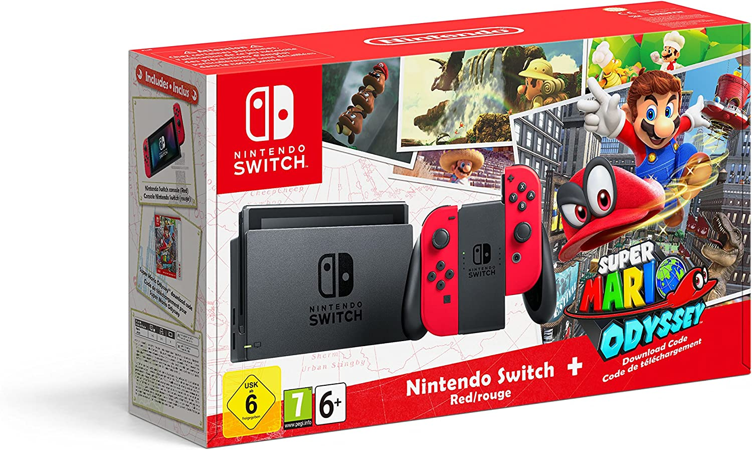 Nintendo Switch - Red with Super Mario Odyssey code [Importación ...