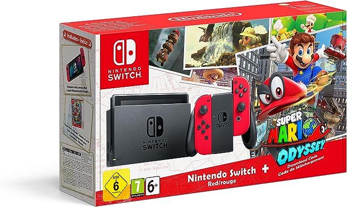 Nintendo Switch - Red with Super Mario Odyssey code [Importación inglesa]: Amazon.es: Videojuegos