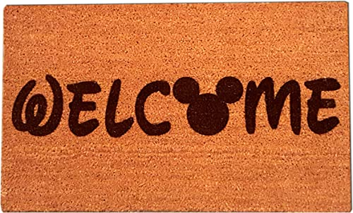 Mickey Mouse Welcome Laser Engraved Coir Fiber Doormat 30 x 18