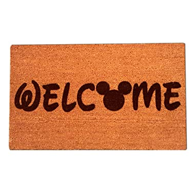 "Disney Mickey Mouse Welcome Laser Engraved Coir Fiber Doormat 30"" x 18"""