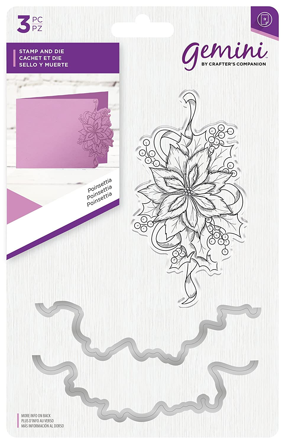 Gemini Poinsettia Stamp and Die, One Size Crafter's Companion GEM-STD-POIN