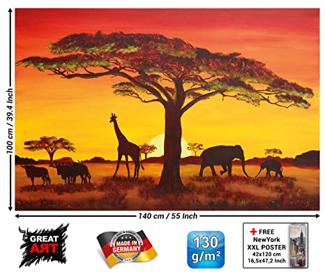 Poster Sunset In Africa Wallpaper Sunset Safari Animals Wall Picture Savannah Decoration Giraffe Buffalo Elefant Silhouettes Xxl Wallposter