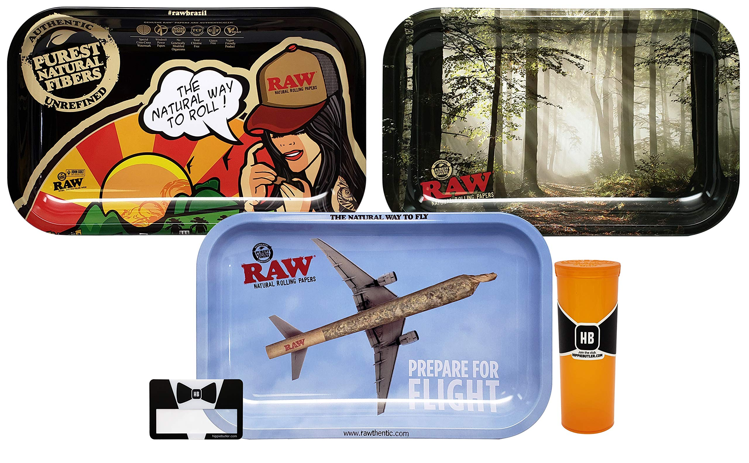RAW Rolling Tray Small (Brazil, Flight, Smokey Forest), Hippie Butler Magnifying Scoop Card, and Hippie Butler Pop Top Storage Container - 5 Items - Bundle by Rolling Paper Depot