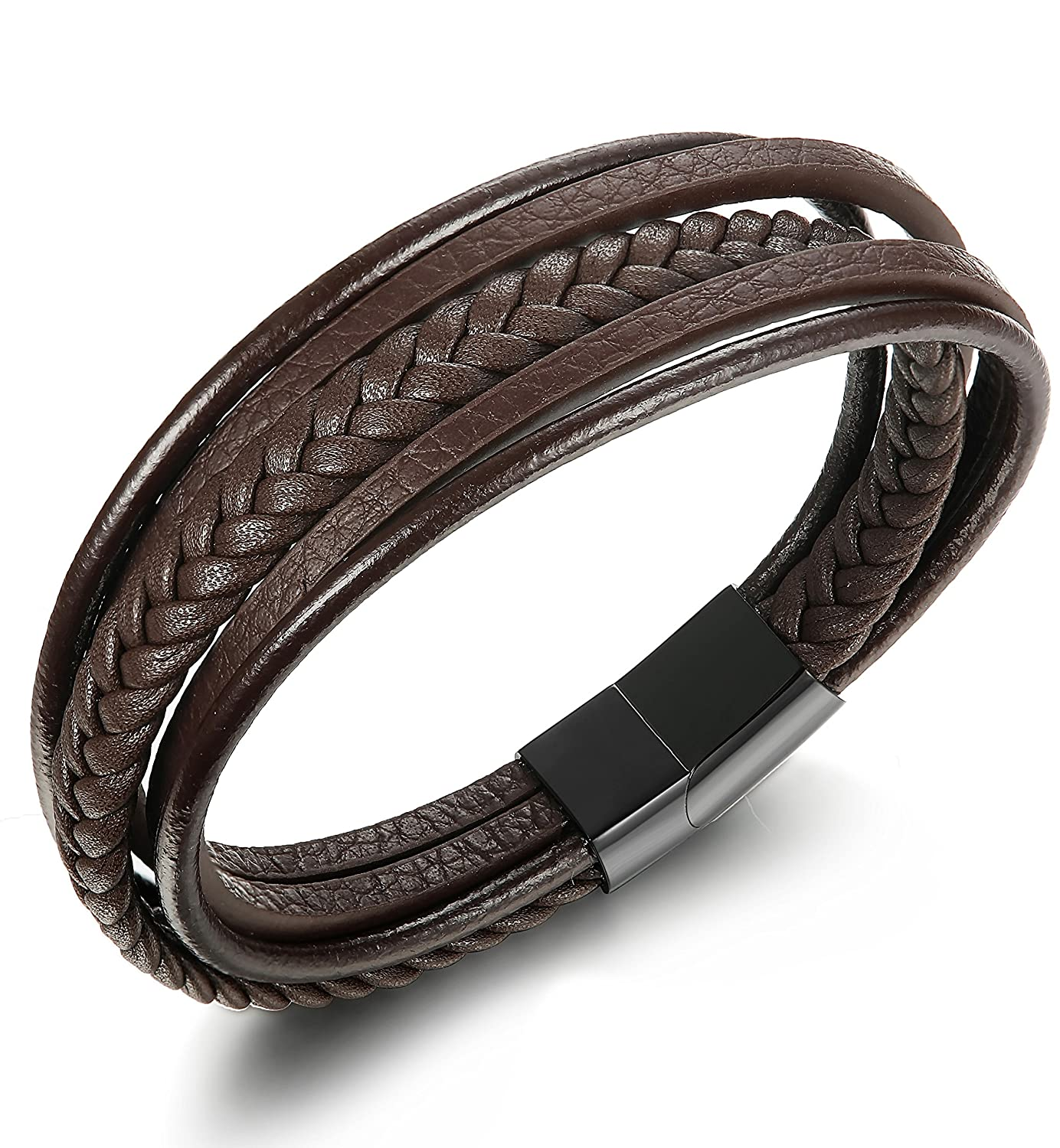 JOERICA Braided Leather Bracelet Stainless Steel Magnetic-Clasp Wrap Mens Bracelet 7.5-8.5inches