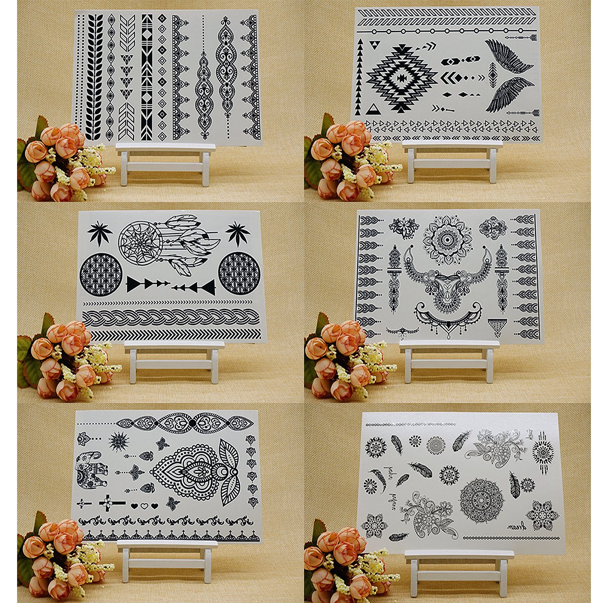 GIFT!!Tastto 6 Sheets Henna Body Paints Temporary Tattoos Black Lace Stickers for Girls and Women with GIFT by Tastto (Image #1)