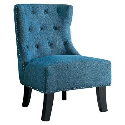 Tremendous Amazon Com Homelegance Lyer Fabric Accent Chair Blue Machost Co Dining Chair Design Ideas Machostcouk