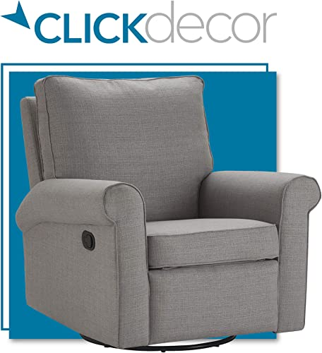 ClickDecor Hughes Swivel Recliner Living Room, Microfiber Upholstered Gliding Chair, Gray