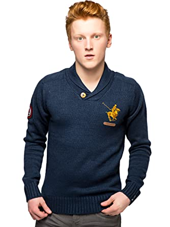 a6e2abb6 SMPC Mens Fisherman Jumper | Shawl Neck Polo Club Knitted Sweater | Size S  M L XL (