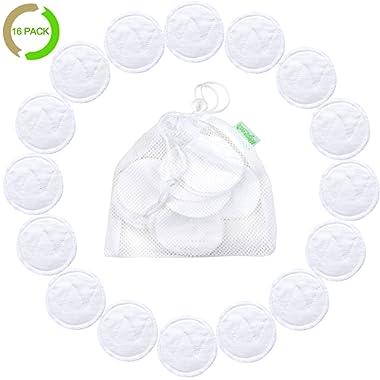 Natural Cotton Rounds Reusable 16 Packs - Reusable Bamboo Makeup Remover Pads for face - Reusable Facial Pads Reusable Facial Cotton Rounds with Laundry Bag (Bamboo Cotton, White)