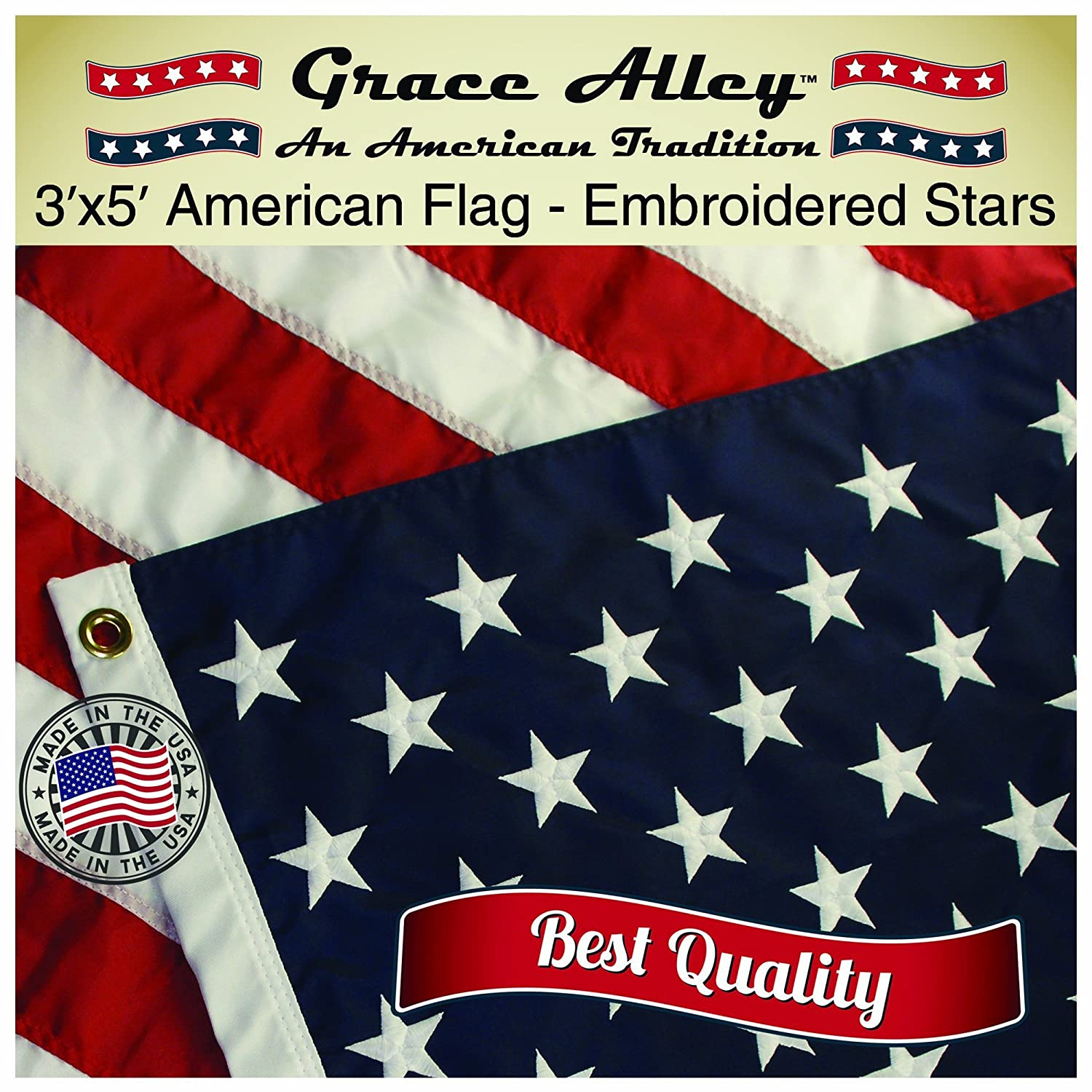 Amazon.com : American Flag: American Made by Grace Alley - 3x5 FT US ...