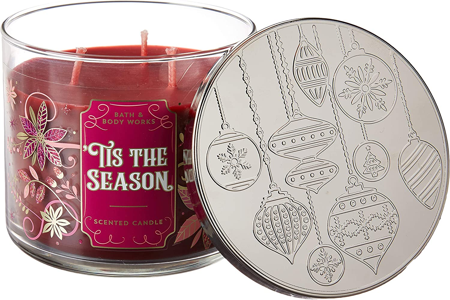 Bath and Body Works White Barn Tis the Season 3 Wick Candle 14.5 Ounce Notes: Rich Red Apple, Cinnamon, Cedarwood