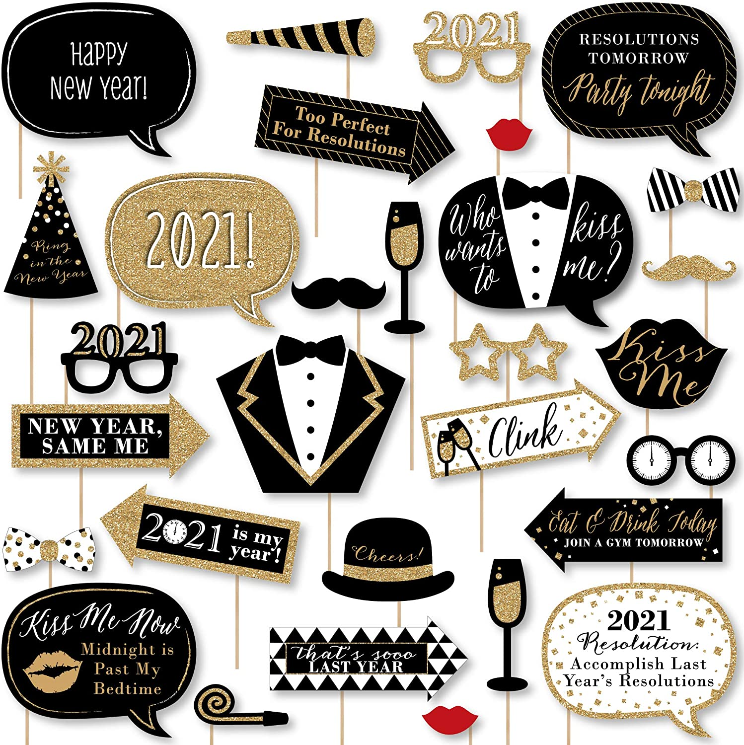 Amazon Com Big Dot Of Happiness New Year S Eve Gold 2021 New Years Eve Party Supplies And Photo Booth Kit 30 Pieces Clothing