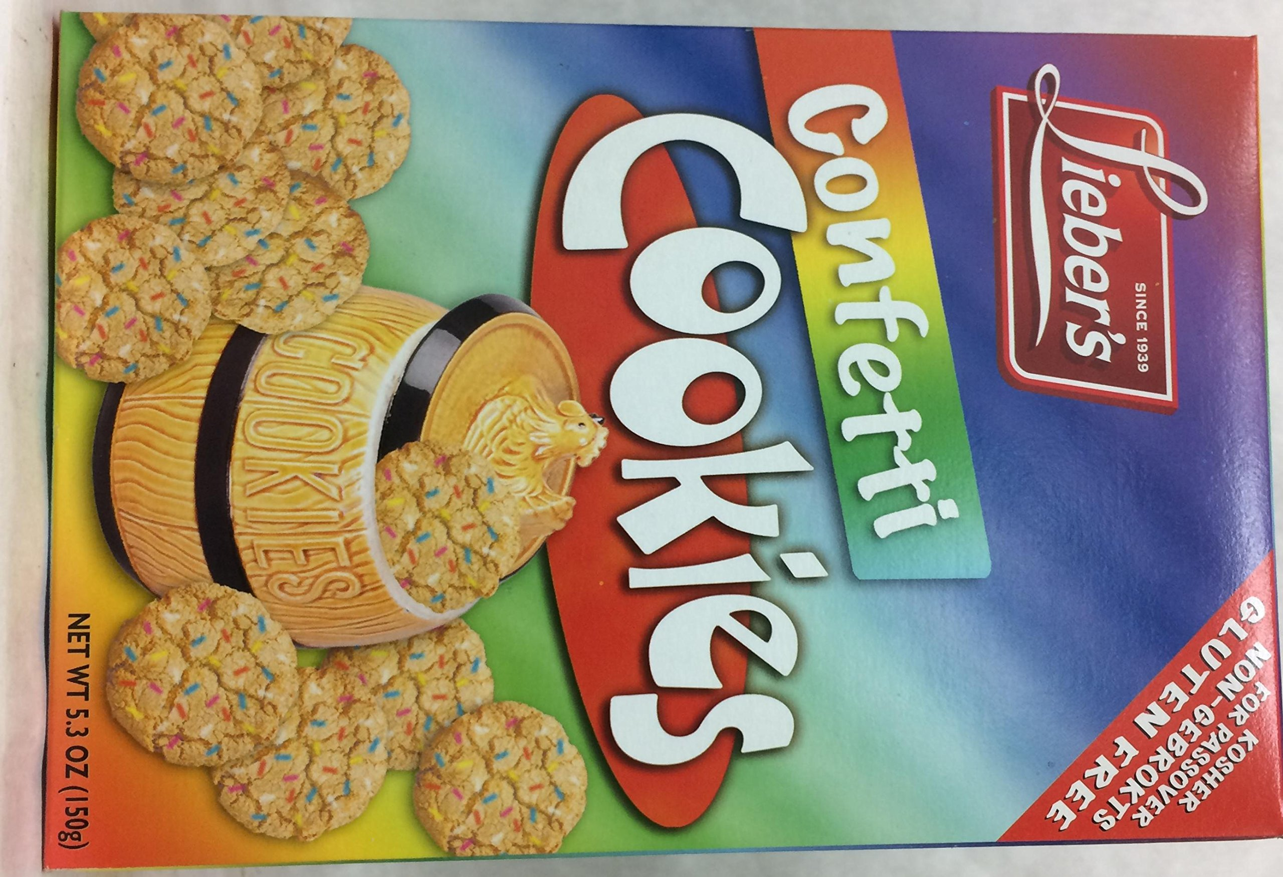 Lieber's Confetti Cookies Gluten Free Kosher for Passover 5.3 oz. Pack of 3.