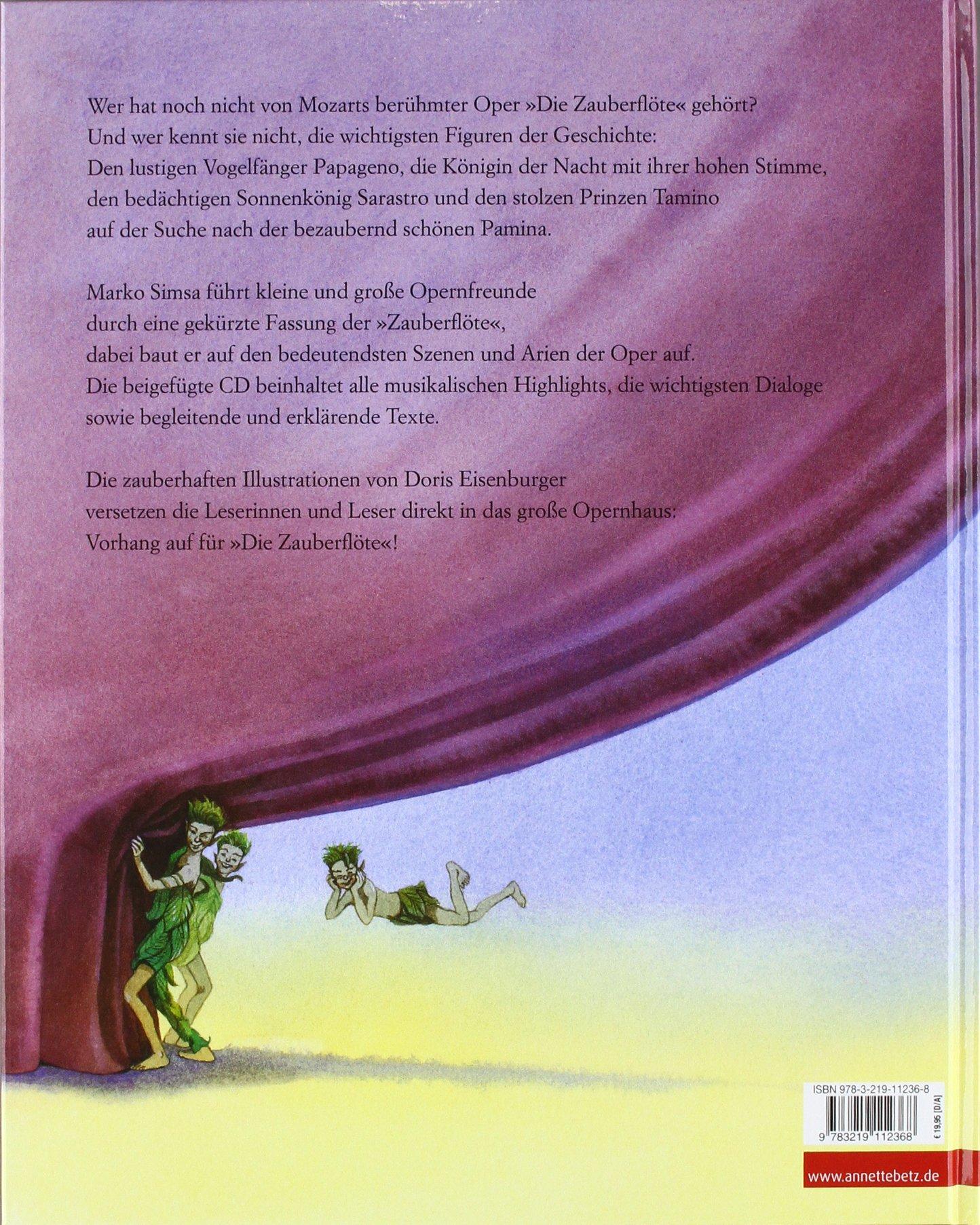 Die Zauberflöte Oper von Wolfgang Amadeus Mozart mit Begleit CD Amazon Marko Simsa Doris Eisenburger Bücher