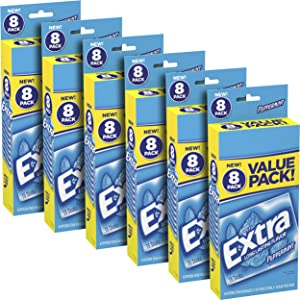 EXTRA Chewing Gum Peppermint Sugar Free Chewing Gum, 8 Count of 15 Pieces Per Pack, Pack of 6